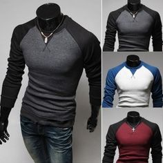 New Men Autumn Casual Slim T-shirt Round Neck Long Sleeve Color Stitching T-shirt 3 Colors XL,XXL