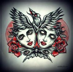 dead_heads_with_raven_tattoo_design_by_oldskulllovebymw-d5xwie7.jpg 800×793 pixels