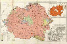 "Ethnic map of (Greater) Romania, based on the census of 1930 (Vintilă Mihălescu ""The Carpathian Bloc"", Bucharest, Romania Map, Old Maps, German Language, Folk Music, Historical Maps, Warfare, Vintage World Maps, Diagram, Semper Fidelis"