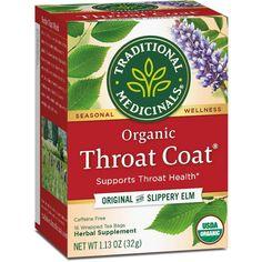 Traditional Medicinals Organic Throat Coat Herbal Dietary Supplement Herbal Tea - 16ct Herbal Cure, Herbal Remedies, Herbal Teas, Cold Remedies, Natural Remedies, Slippery Elm Bark, Slippery Elm Tea, Marshmallow Root, Gourmet