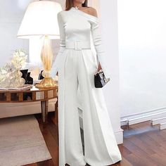 Ericdress Full Length Elegant Plain High Waist Womens Slim Jumpsuit Find latest women's clothing, dresses, tops, outerwear, and other fashion clothing and enjoy the worldwide shipping # Cold Shoulder Wedding Dress, Creative Black Tie, Sequin Jumpsuit, Formal Jumpsuit, Looks Cool, Jumpsuits For Women, Fashion Jumpsuits, The Dress, Afro