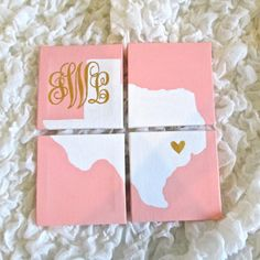 Monogrammed State Silhouette w/ Heart Detailing Painted on 4 Mini Canvases. Really Cute. Could totally DIY. Oregon, of course :-)