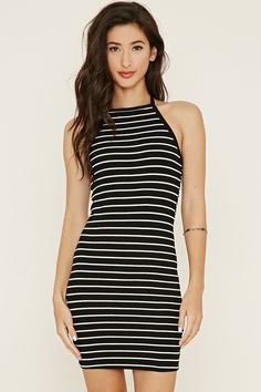 Style Deals - This ribbed knit dress flaunts a self-tie halter neckline and an allover stripe pattern.