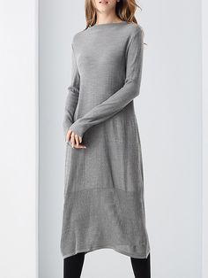 #AdoreWe #StyleWe Card Soul Gray Long Sleeve Knitted A-line Slash Neck Midi Dress - AdoreWe.com