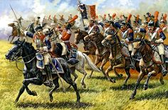 French Cuirassiers charge the field at Waterloo.