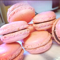 I made something yummy :) pink macarons with nutella filling