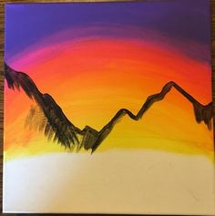 Paint a Mountain Sunset (for Beginners) : 10 Steps (with Pictures) - Instructables Easy Landscape Paintings, Scenery Paintings, Mountain Paintings, Easy Paintings, Beautiful Paintings, Abstract Landscape, Sunset Paintings, Canvas Paintings, Canvas Art