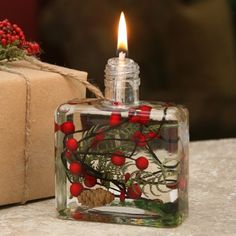 MAKE FROM REPURPOSED GLASS - Red Berry Fern Eco Oil Lamp
