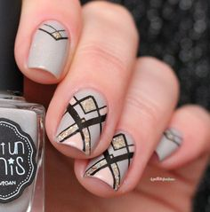 IEUV #imanatural - pale gray holo nail polish, black geometric stamping with…