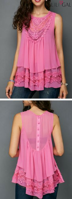 Overlay Sleeveless Lace Patchwork Pink Blouse #liligal #top #blouse #shirts #tshirt