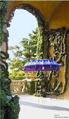 Thai garden umbrella in an Italian garden setting, Villa Pool, Garden Villa, Garden Parasols, Sun Umbrella, Italian Garden, Blue Garden, Outdoor Garden Furniture, Bespoke Design, Lake Como