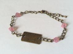 """Bracelet """"Cadeau maîtresse"""", règle et perle pyramide rose : Bracelet par alterperles"""