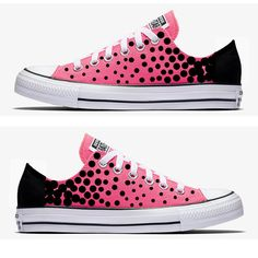 Converse Hand Painted Pink with Black Polka Dots by SweetAndColorful on Etsy Leopard Print Converse, Black Converse, Outfits With Converse, Converse Sneakers, Vans Shoes, Painted Converse, Painted Shoes, Converse Design, Shoe Room