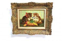 Gemälde Spielende Kätzchen im Prunkrahmen  Cat