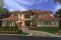 Mediterráneo Plan de Estilo Casa - 6 Camas 7.5 Baños 6175 m² / Ft Plan de # 420-188 Frente de elevación - Houseplans.com