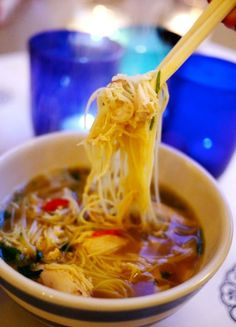 Singapore Chicken Noodle Soup: delicious, low in calories, but don't forget to add a few slices of fresh jalapeno