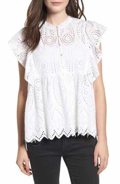 Ruffle Cotton Eyelet Top available at Eyelet Top, Ruffle Top, Ruffles, Spring 2018 Fashion Trends, Fashion Spring, Bollywood, Collar Top, Spring Tops, Weekend Outfit