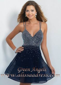 2015 Midnight Navy Sparkly Beaded A Line Blush 10076 Homecoming Dress