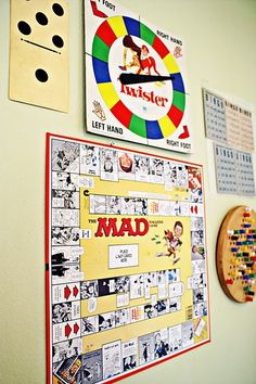 Retro board game art frame the board games and have small boxes with individual game pieces so you could pull them off the wall and play. This would be really cute for a game room/man cave. Old Board Games, Vintage Board Games, Old Games, Game Boards, Attic Renovation, Attic Remodel, Game Room Basement, Basement Ideas, Garage Playroom