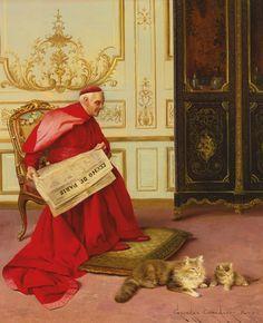 Distrações Georges Croegaert (França, 1848-1923) óleo sobre painel de madeira, 27 x 22 cm