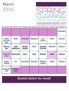 Monthly Checklist – March - Spring Cleaning 365