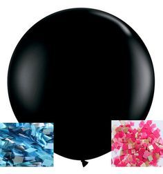 "Ready To Ship - JUMBO 36"" Gender Reveal Confetti Balloon 36 Inch Giant Black Balloon / Surprise Baby Shower / Party / Geronimo"
