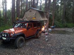 campfire with Mango Tango rooftop tent JK