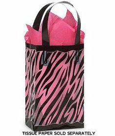 "Wedding gift:Black & Clear ZEBRA Plastic Shopper Gift Bag 3 mil HD 5-1/4x3-1/4x8-1/2""- Quantity of 25"