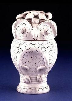 Stoneware 'eulen-gefäss' or owl-jug; head forms lid; thin transparent salt-glaze; with applied moulded eyes, beak, ears, head, feathers, tai...
