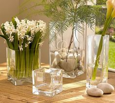simple glass vases  in varying sizes - catch them on sale at Michaels or Hobby Lobby to have on hand when a fresh flower urge hits you.
