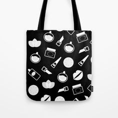 Wellness icons : black and white Tote Bag by wellglow Black And White Tote Bags, Designer Totes, Poplin Fabric, Hand Sewn, Shopping Bag, Original Artwork, How To Draw Hands, Bee, Designers