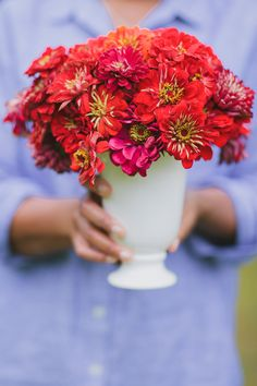 Zinnia centerpiece captured by Marvelous Things Photography!