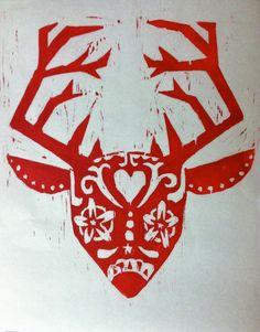 Deer Sugar Skull Woodblock Print  Crimson by HoneyfoxPrints, $15.00