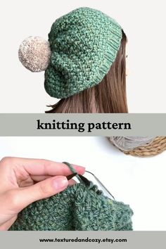 Easy Knit Hat, Knitted Hats, Crochet Hats, How To Knit A Hat, Knitted Poncho, Beanie Knitting Patterns Free, Free Knitting, Knitted Headband Free Pattern, Quick Knitting Projects