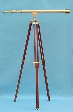 44 Brass Harbormaster Telescope on Tripod w/ Standard Mount