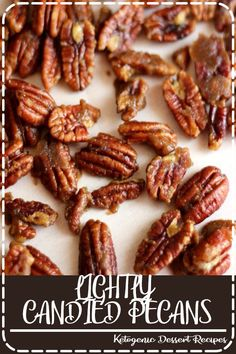 Lightly Candied Pecans - Pecans with a kiss of dark brown sugar and butter, perfect with pumpkin pie or alone in a dish. Only three ingredients and 5 minutes. Pecan Recipes, Candy Recipes, Holiday Recipes, Snack Recipes, Dessert Recipes, Cooking Recipes, Desserts, Fall Recipes, Candied Nuts