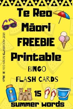 This te reo Māori freebie printable is a game of Bingo. It includes flash cards for you to learn 15 summer related words. Bingo is a fun and quick way for you to learn new kupu and keep the learners engaged. I hope you enjoy this te reo freebie. School Resources, Teaching Resources, Maori Words, Summer Words, Reception Class, Games For Toddlers, Group Work, Bingo, Preschool Activities