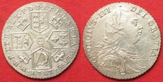 1787 England GREAT BRITAIN Shilling 1787 GEORGE III silver SCARCE VARIETY UNC! # 91892 st