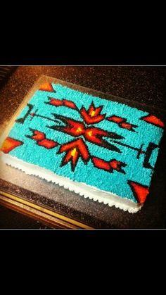 Native American design cake Native American Cake, Native American Wedding, Indian Cake, Indian Party, Dream Catcher Cake, 14th Birthday Cakes, Western Cakes, Southwestern Wedding, Native Design