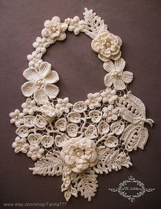 Statement Flower Necklace Crocheted Jewelry with pearls Big floral Long necklace Irish lace handcraft Wedding Prom jewelry Crochet Flowers Necklace with pearls beads. Jewelry, Lariat, Bib of Irish Lace. Gift for her, wedding. Crochet Flower Patterns, Lace Patterns, Crochet Flowers, Doilies Crochet, Crochet Pattern, Crochet Lace Collar, Lace Knitting, Collier Floral, Crochet Wedding