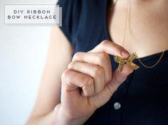 DIY Necklace  : DIY Ribbon Bow Necklace
