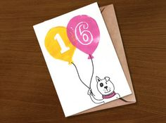 Birthday Card 16 16th Teenager Milestone Years Old Age For Boy Girls