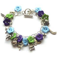 Button Charm Bracelet, Blue, Green, Purple Flower Buttons, Quirky, Fun, UK Seller