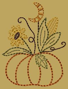 PK127 Moonlite Pumpkin Version 2 - 4x4: Primitive Keepers, Prim Machine Embroidery Designs
