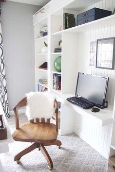 Office Makeover Reveal   IKEA Hack Built-in Billy Bookcases