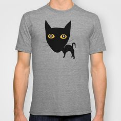 Black Cat T-shirt by Verene Krydsby - $18.00 T Shirt Diy, Tee Shirts, Tees, Neck T Shirt, Mens Fashion, Style Fashion, My Style, Mens Tops, How To Wear
