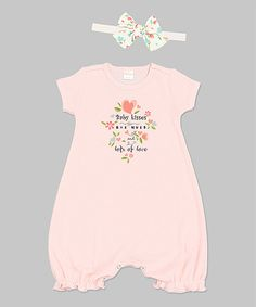 Look at this Voilà Fancies Soft Coral 'Baby Kisses' Romper & Headband - Infant on #zulily today!