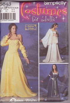 Simplicity 5843 Medieval Gown Tunic Tabard Bustier LOTR Hard to Find OOP Plus Sizes 12-20 New and Uncut. $15.00, via Etsy.
