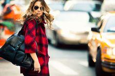 Street Fashion, Brunette, purse, red plaid coat, sunglasses - NYC, Etienne Aigner