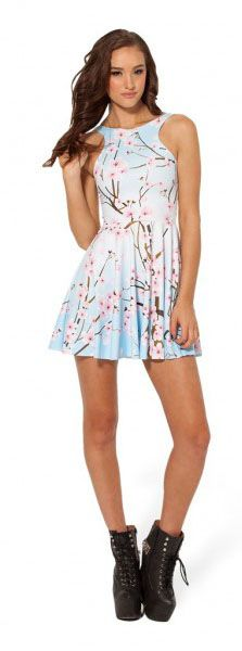 Black Milk Dress Cherry Blossom Reversible Skater Blue
